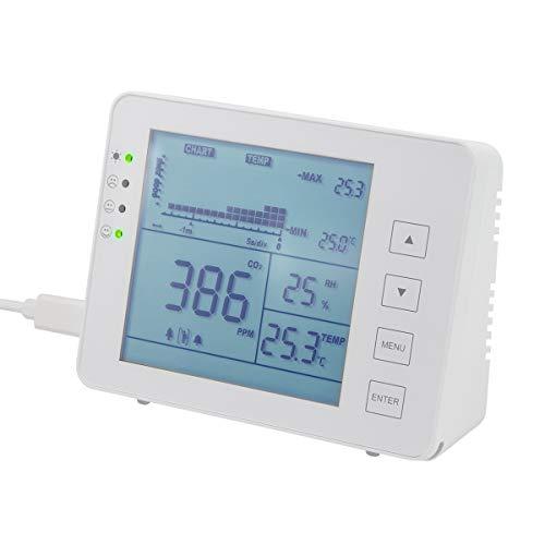 LogiLink SC0115 - CO2-Messgerät (CO2-Konzentration 5000-ppm-Bereich) mit Ampel & Alarm für bessere Luftqualität, Temperatur- & Luftfeuchtigkeitsanzeige