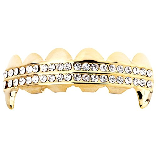 Iced Out One Size Fits All Bling Grillz - Dracula TOP - Gold