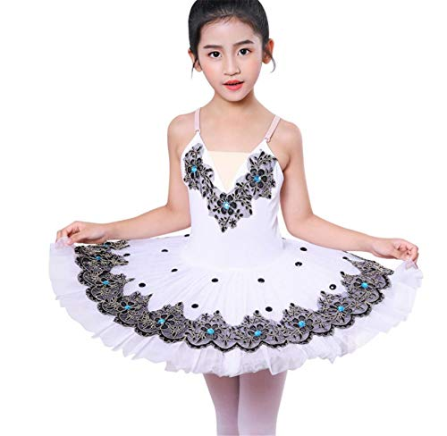 ZYLL Disfraces Lago de los cisnes Ballet del tut del Ballet del Traje de Bailarina de Las Muchachas del Vestido de los nios del Vestido de Partido de la Etapa Dancewear,Blanco,120CM