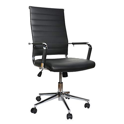 eclife Ergonomischer Bürostuhl, Chefsessel Schreibtischstuhl drehstuhl mit Armlehne, hoher Rückenlehne, Neigungsfunktion, Lordosenstütze, Chrome-Rädern (Schwarz)