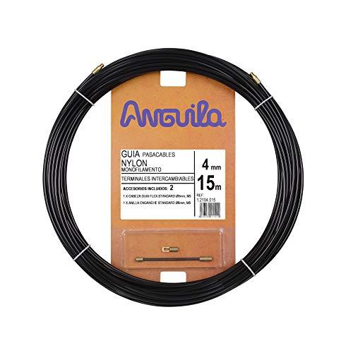 Anguila 12104015 Guía pasacables Nylon Monofilamento, Negro, 15 Metros