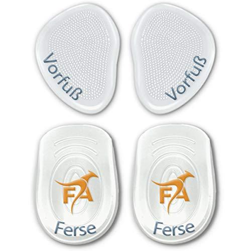 FootActive Gel-Kissen - (4 Stck.) - Wer sanft Auftritt, kommt weit. Gelkissen zur Steigerung des Laufkomforts!, Transparent, 2 Fersen-/ 2 Vorfuß-Pads