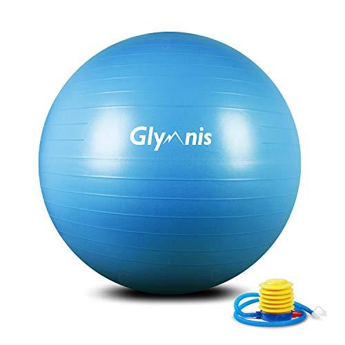 Glymnis Ballon de Fitness Ballon de Gymnastique 55cm 65cm 75cm Balle d'Exercice Antidérapant Maximale jusqu à 300 kg pour Pilates Yoga Gym (Bleu, 55cm)