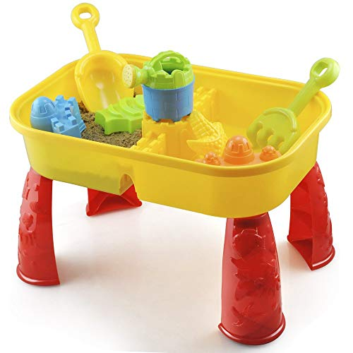 KandyToys Sand and Water Table with Lid and Accessories - Kids Outdoor Play...