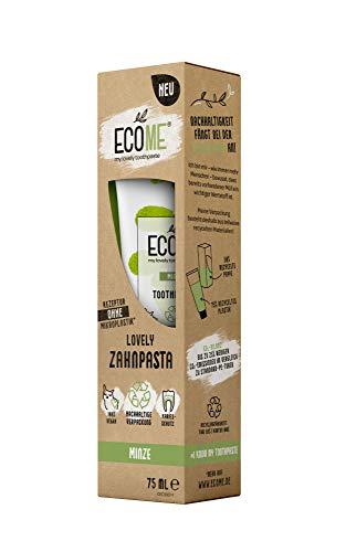 ECOME my lovely toothpaste 'Minze', 2 x 75 ml, nachhaltige Zahnpasta für saubere Zähne, frei von Mikroplastik, mit Fluorid, Schutz vor Karies, eco-friendly & vegan