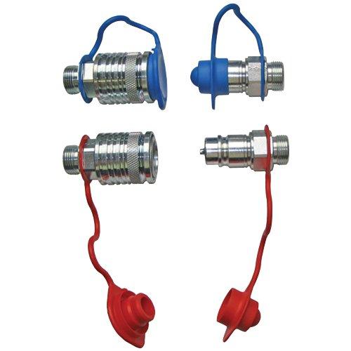 Set Hydraulik- Steckkupplungen 2x Muffe 2x Stecker 12L + 4x Staubschutz rot/blau