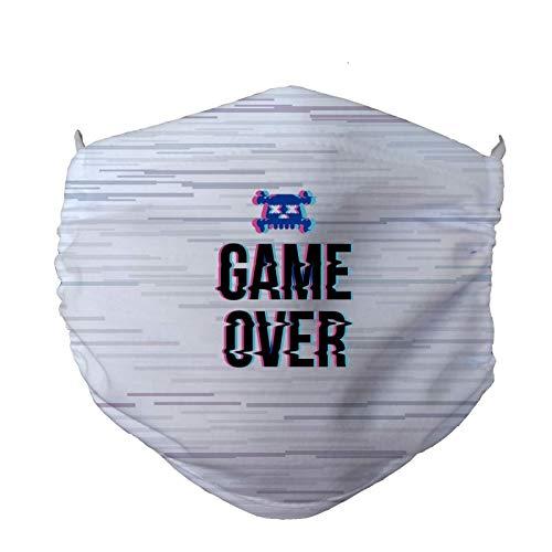 FISHIKII   Mascarilla Game Over - Poliéster 80% - Licra 20% - Todas Las Temporadas 2020 - Unisex   BLANCO   ÚNICA