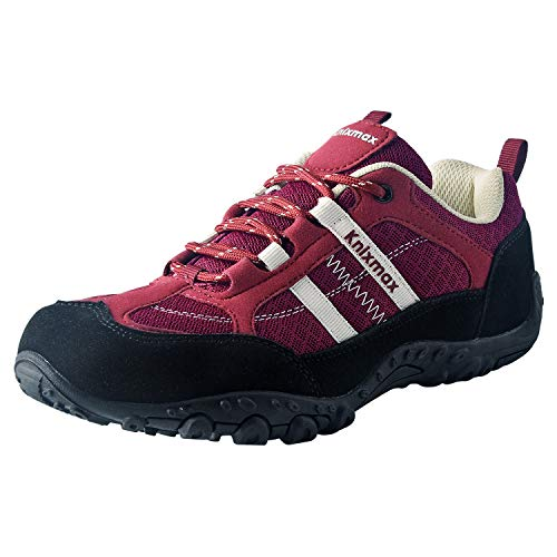Knixmax Women's Hiking Shoes Lightweight Non-Slip Climbing Trekking Sneakers for Woman Camping Backpacking Shoe Wine Red Size 8 US/EU 39