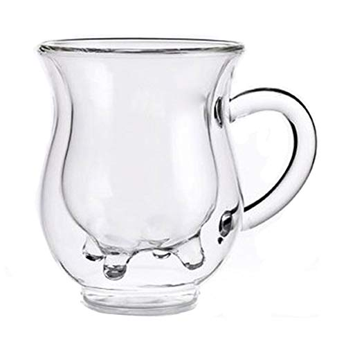 Kalaokei Taza de leche de 300 ml, de doble capa, resistente al calor, para jugo de agua, taza de café, aislada, de vidrio de doble capa, 300 ml