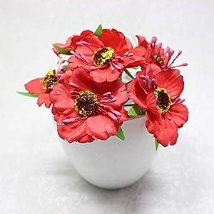 DSWJH Artificial Flower Flower Heads Mini Silk Artificial Poppy Bouquet Wreath Scrapbook Wedding Decoration Fake Flower