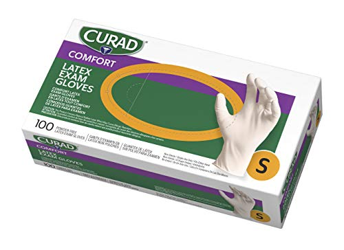 Curad - CUR8104 Disposable Medical Latex Gloves, Powder Free Latex Gloves are Textured, Small, 100 Count,White