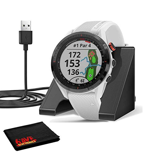 Garmin Approach S62 GPS Golf Watch (Black Bezel/White Band) with Virtual Caddie,Mapping Includes Charging Base and Cleaning Cloth