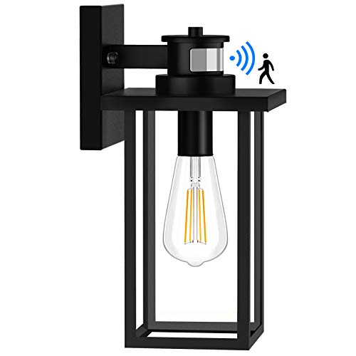 Motion Sensor Outdoor Wall Lights, Dusk to Dawn Exterior Light Fixtures Wall Mount, Front Porch Light with Matte Black Finish, Anti Rust Wall Lamp Wall Lantern, Wall Sconce Lighting for Garage, House