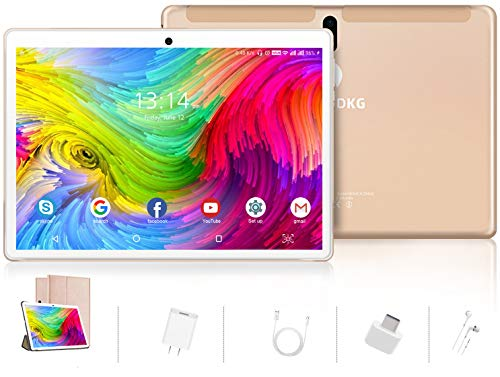 Tablet 10 Pollici Android 9.0 Pie Tablets 4GB RAM+64GB ROM,4G LTE Quad Core ,Certificato Google GSM, Dual SIM Tablet Pc con 3 Slot 8000mAh/WIF I/Bluetooth/GPS/Type-C (5.0 +8.0 MP Telecamera)-d'oro