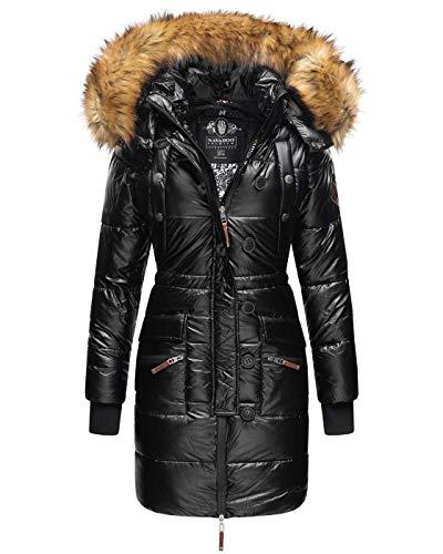 Navahoo Damen Winter Jacke Parka Mantel Winterjacke warm lang Kunstfell B833 [B833-Zucker-Schwarz-Gr.XXL]