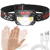 Linterna Frontal LED USB Recargable, Linterna de cabeza led recargable, 6 Modos de uso (Luz Blanca/L...