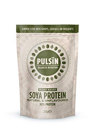 Pulsin' Unflavoured Soya Protein Powder 250g | 90% Protein| Natural | Gluten Free | Vegan
