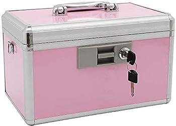 xydstay Medicine Lock Box,First Aid Safe Medication Storage Box,Layered Aluminum Daily Medicine Cabinet Family Use,12.2  x 7.9  x 8.2  Pink
