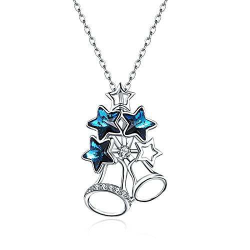 BENHAI Parte Superior del árbol de Navidad Diseño Cristales Colgante Collar, 925 Plateado Swarovski Element Colgante Joyería Regalo para el día de la Madre para Mujer De Amor Regalos para Mamá 40+5cm