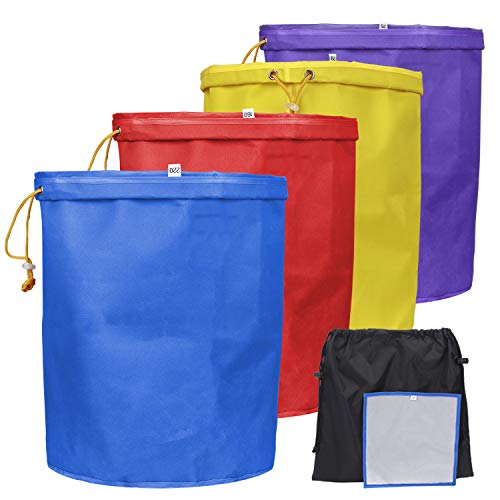 Bubble Bags 5 Gallon,4 Bubble Bag Set,Filter Bag,Herbal Ice Bubble Hash Bags 5 Gallon Essence Extractor Kit with 25 Micron Pressing Screen and Storage Bag