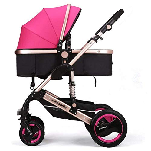 JCSW Baby Stroller, Unisex Two Way Strollers 2 In 1 Baby Pushchairs Toddlers Newborn Prams Fold...