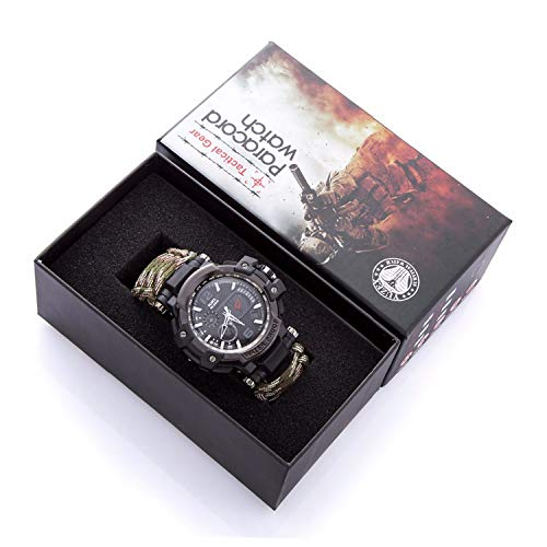 Men Outdoor Survival Military Watch - Multifunctional Waterproof LED Quartz Sport Watch Emergency Survival Gear Watches with Paracord, Fire Starter, Whistle, Scraper, Compass, Black Watch