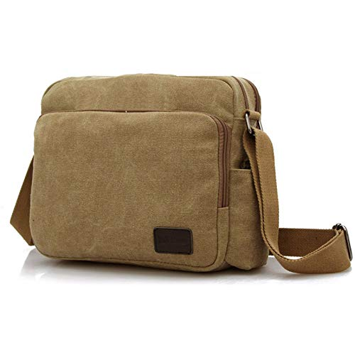 MeCooler Men's Canvas Weekender Messenger Bag for Travel Crossbody Sports Over Shoulder Vintage Military Overnight Casual Cross Body Side Beach Pack Bag Brown