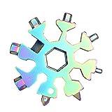 ZFLY-JJ 18 in 1 Portachiavi con Portachiavi Multiuso in Acciaio Inossidabile con Fiocco di Neve in Acciaio Inossidabile, Strumento Multifunzione da Campeggio da Viaggio per Esterni, Multicolore