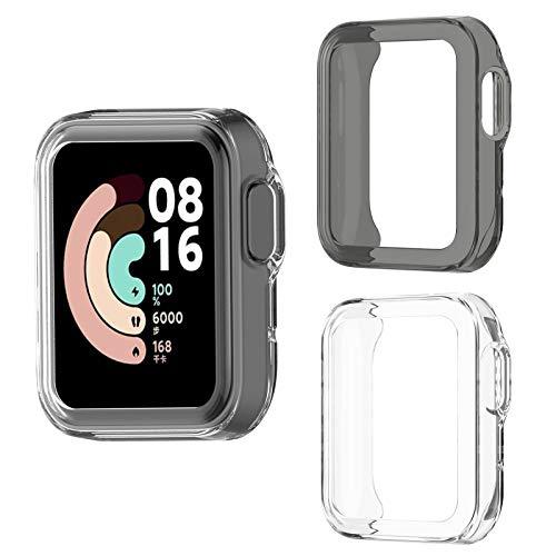 Aerku Cover per Xiaomi Mi Watch Lite/Redmi Watch, Anti-graffio Antiurto Trasparente TPU Silicone Custodia [Nero + Bianca] - 2 pezzi