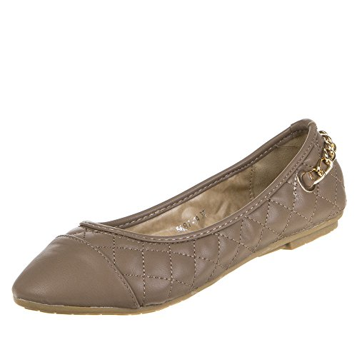 Damen Schuhe, 5687, Ballerinas, Ketten DEKO Halbschuhe Pumps, Synthetik in hochwertiger Lederoptik und Lacklederoptik, Hellbraun, Gr 41