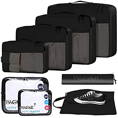 BAGAIL 8-Pcs Luggage Packing Organizers Packing Cubes for Travel Accessories Black