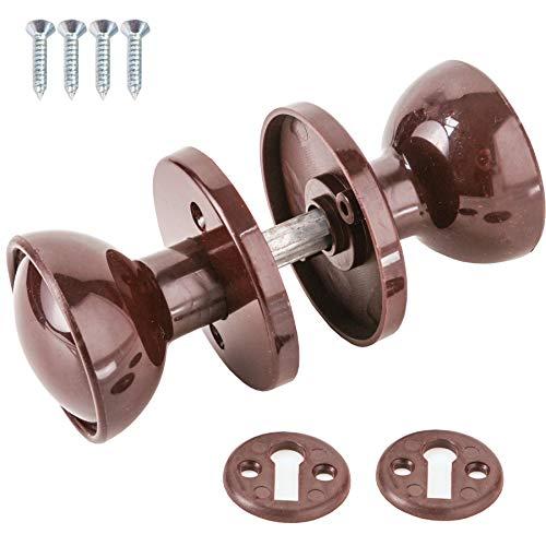 4X Sets of 60mm Brown Plastic Rim Mortice Door Knobs - Door/Shed/Gate/Garage Lock Handle