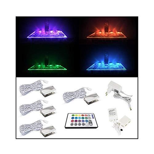 BASON LED Glasbodenbeleuchtung, Glaskantenbeleuchtung, LED Vitrinenbeleuchtung RGB Fernfarbwechsel Led Beleuchtung für Schrankbeleuchtung, Bar dekorieren Led Lichter(4-dimmbar, 20 Farben), 4er Set.