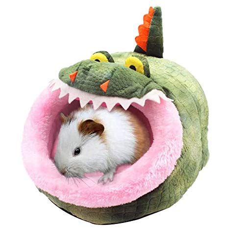 Warm Guinea Pig House Bed Hamster Rat Cotton House Crocodile Animal Shape Small Pet Animal Nest (8.3 * 9.1 * 5.9in)