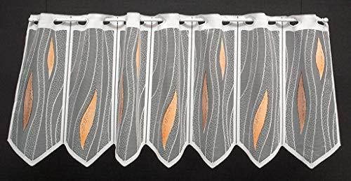Scheibengardine Tropfen 35 cm hoch   Breite der Gardine durch gekaufte Menge in 28 cm Schritten wählbar (Anfertigung nach Maß)   weiß/braun/Terra   Vorhang Küche Wohnzimmer
