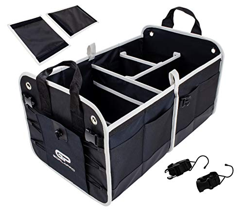 GorlaPro Premium Heavy Duty Trunk Organizer for Car SUV Auto Collapsible Portable with Multiple Compartments for Easy Storage.