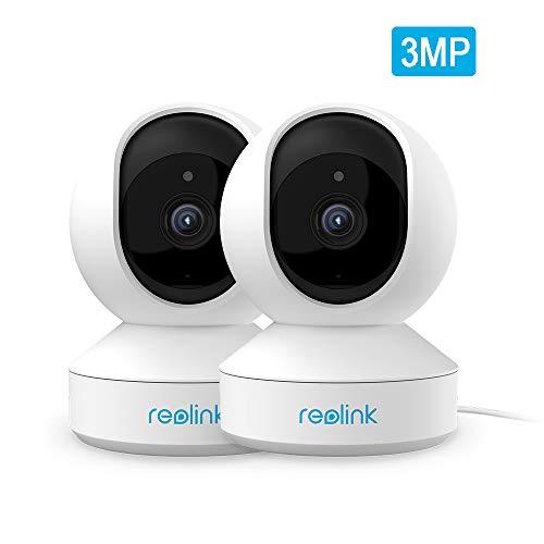 Reolink WLAN Kamera schwenkbar mit 3MP HD, 2,4GHz WiFi Überwachungskamera innen Handy mit Schwenk-/Neigefunktion, 2-Wege-Audio, Nachtsicht und Bewegungserkennung, E1-2Pack