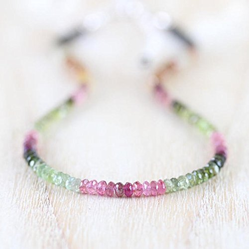 """LOVEKUSH 925 Sterling Silver Good Luck Gift 3.5mm Stracking Multi Watermelon Tourmaline Necklace Rondelle, Faceted 16"""" for Mens, Womens, GF, BF & Adult."""