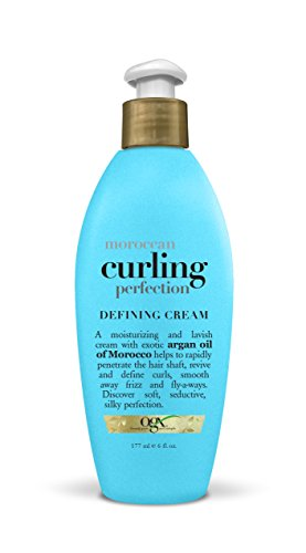 OGX Argan Oil of Morocco Curling Perfection Curl-Defining Cream, Hair-Smoothing Anti-Frizz Cream to Define All Curl Types & Hair Textures, Paraben-Free, Sulfated-Surfactants Free, Blue Woody 6 Fl Oz