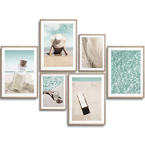 MONOKO® Premium Poster Wohnzimmer Bilder Set 6 Motive als stilvolle Wanddeko (Set Beige, Pool, Urlaub, 4X A4   2X A5)
