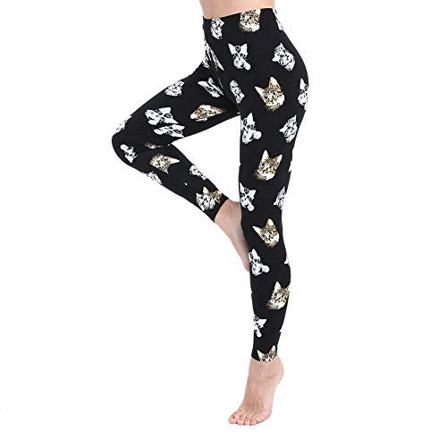 Leggings for Women and Girls-High Waisted Brushed Buttery Soft Pants- One/Plus Size 35+ Design (Cat, One Size (US 2-12))