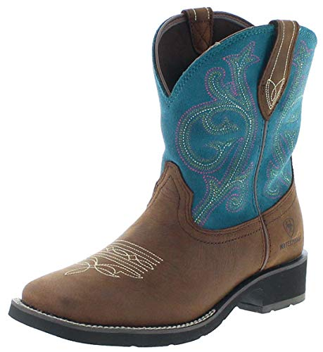 Ariat Damen Cowboy Stiefel 21477 Shasta H2O Westernreitstiefel Lederstiefel Braun Türkis 40 EU