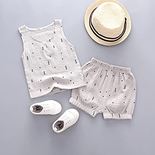CNmuca Summer Boy Sleeveless Set Fashion Vest and Short Pants Set Gray L