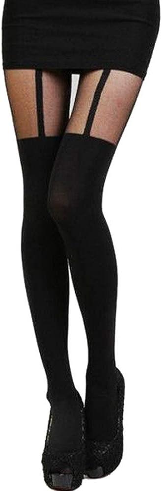 Women Girls Mock Knee High Tattoo Tights Patchwork Stockings