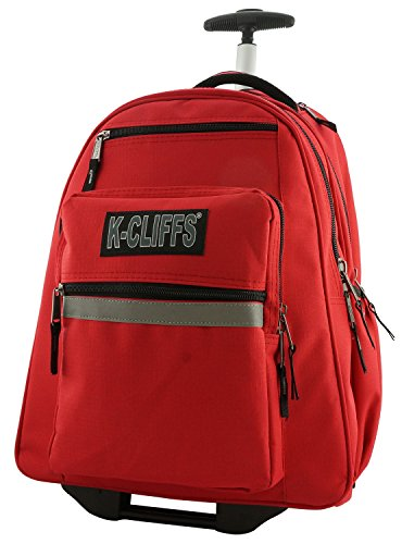 K-Cliffs Heavy Duty Rolling Backpack School Backpacks with Wheels Deluxe Trolley Book Bag Wheeled Daypack Workbag Multiple Pockets Bookbag with Safety Reflective Stripe Red