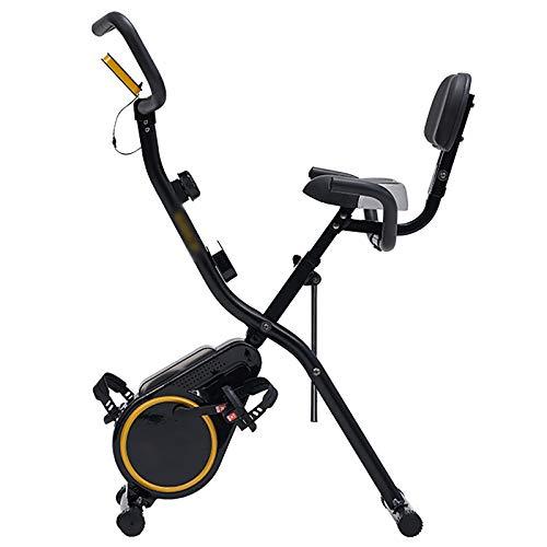 Bicicleta estática plegable, entrenador de bicicleta de fitness con pantalla LED y resistencia de 12 niveles, soporte para teléfono y asiento cómodo para Ejercicio Entrenamiento en Casa