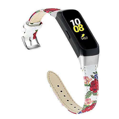 UKCOCO Compatibile per Cinturino Samsung Galaxy Fit Sm-r370 - Cinturino in Pelle con Stampa di Ricambio Accessori Orologio da Polso Compatibile per Samsung Galaxy Fit Sm-r370