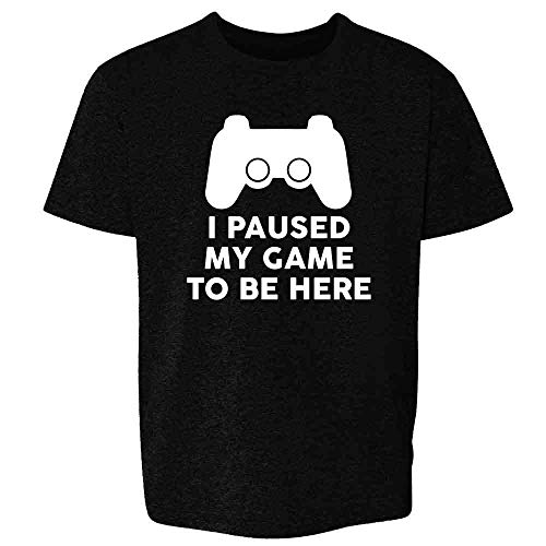 I Paused My Game to Be Here PS Controller Gamer Black L Youth Kids Girl Boy T-Shirt