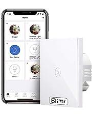 meross Wifi-wisselschakelaar, vereist nulgeleider, Smart 2-weg lichtschakelaar, compatibel met Alexa, Google Assistant en SmartThings, 2,4 GHz