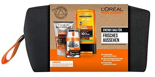 L'Oréal Men Expert Geschenkset für Männer mit gratis nachhaltigem Kulturbeutel, Mit Gesichtsreinigung, Feuchtigkeitspflege und Duschgel für Körper, Haar und Gesicht, Hydra Energy, 1 x 710 g